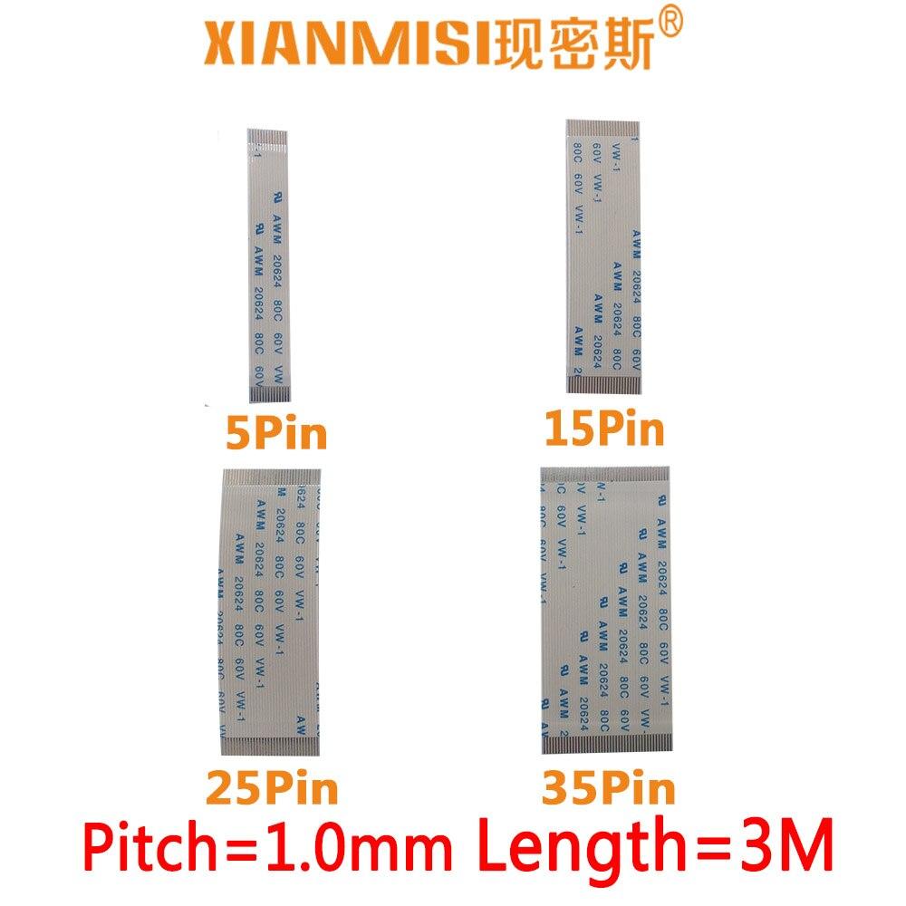 FFC/FPC plana cable de extensión flexible 5Pin 15Pin 25Pin 35Pin mismo lado 1,0mm AWM VW-1 20624 20798 80C 60V longitud 3 Metro 5 uds