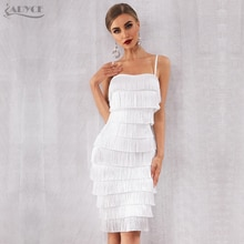 Adyce 2020 뉴 여름 Bodycon 프린지 붕대 드레스 여성 Vestidos 화이트 스파게티 스트랩 술 클럽 드레스 유명인 파티 드레스