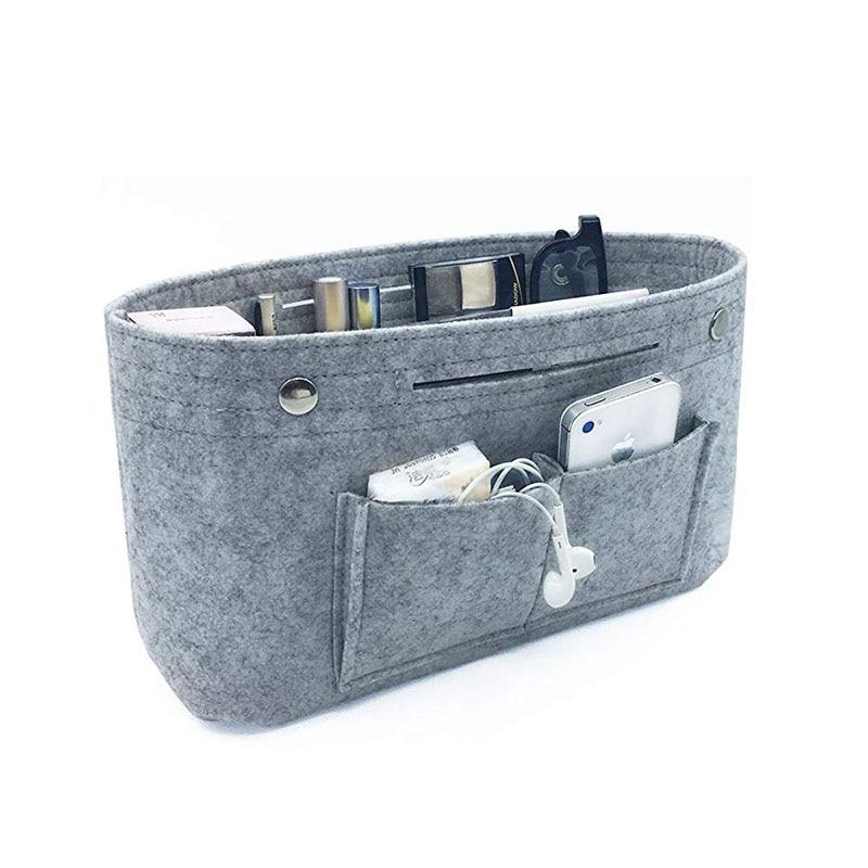 Organizador de almacenamiento de maquillaje, bolsa de cosméticos con inserto de tela de fieltro, multibolsillos, se adapta al bolso, neceser cosmético para organizador de viaje