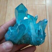 120-140 г небесно-голубая аура Кристалл кластер Ангел точки палочки натуральный сырой чистый кварц грубая заживляющий топаз Lemurian Seed Prism Charms
