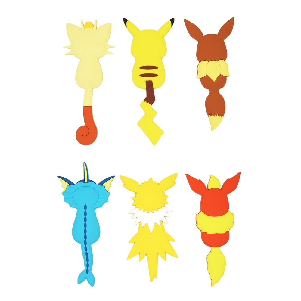 Pocket Monster Anime Pikachu Mew Eevee Poketto Monsuta Kawaii Rubber Fridge Accessory