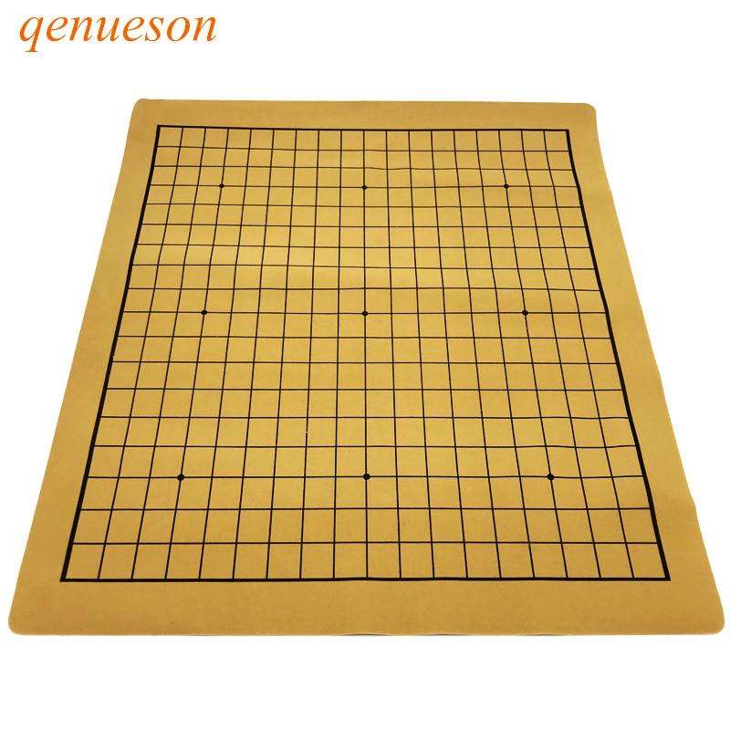 Alta calidad Go Game tablero de ajedrez juegos específicos de 19 vías tablero de ajedrez portátil plegable de cuero tablero de ajedrez qenroeson