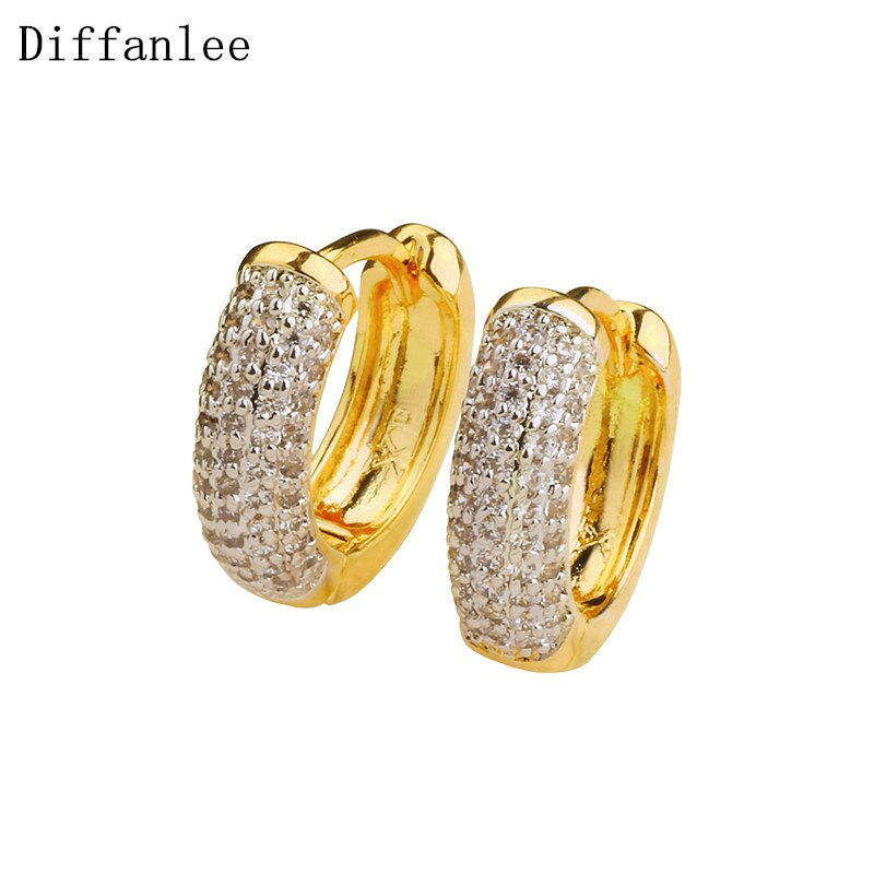Diffanlee Charm Europe Gold Color Round Hoop Earrings For women lady's Luxury  full 102pcs Cubic Zirconia Stone Jewelry
