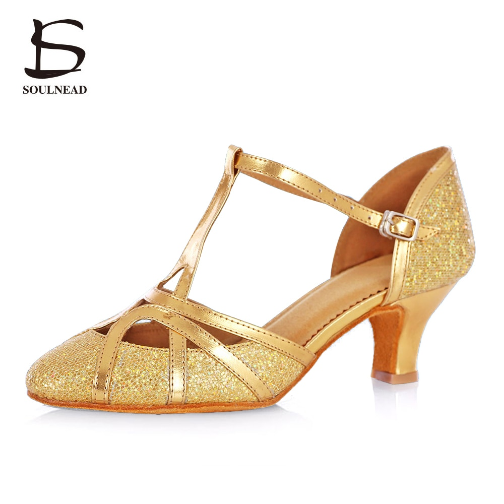 Women's Latin Ballroom Shoes Tango Salsa Dancing Shoes High Heels 5cm Wholesale Girls Dance Shoes Gold Ballroom Dance Sandals