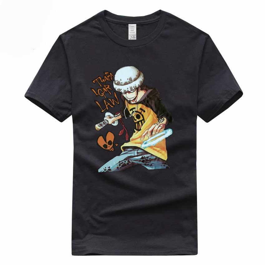Anime One Piece Trafalgar camiseta de ley de verano, talla europea, 100%, de algodón, de manga corta, cuello redondo, camiseta ④ 3000017