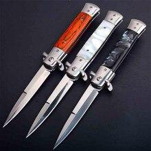 PEGASI couteau à griffe en bois acrylique, couteau à pliage rapide 440C couteau pliable de poche en bois, outil de survie pour la chasse en camping