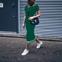 slim womens t shirt dress 2019 mid long style patchwork striped casual t shirt dress summer female strapless vestidos dress
