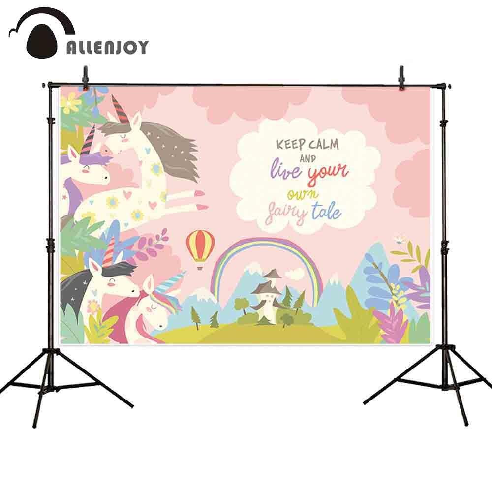 Allenjoy photocall boda dibujos animados Rosa Arco Iris unicornio colorido aire caliente Marco de globos texto personalizado fiesta de cumpleaños foto de fondo