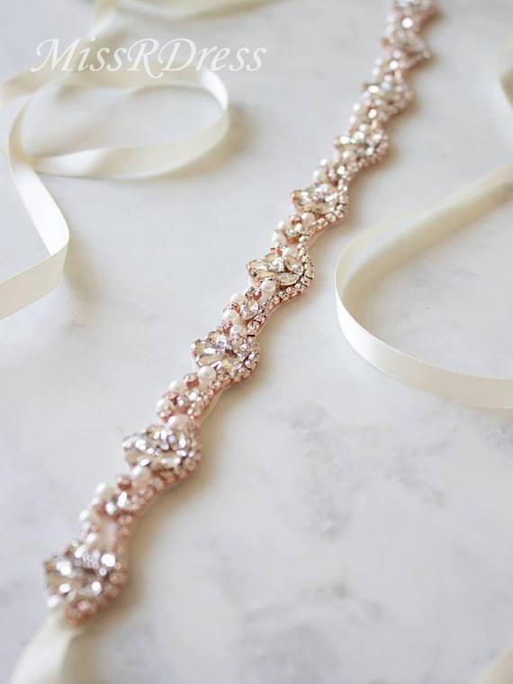 MissRDress strass perles de mariage ceinture or Rose cristal de mariée ceinture diamant robe de mariée ceinture pour la décoration de mariage JK810