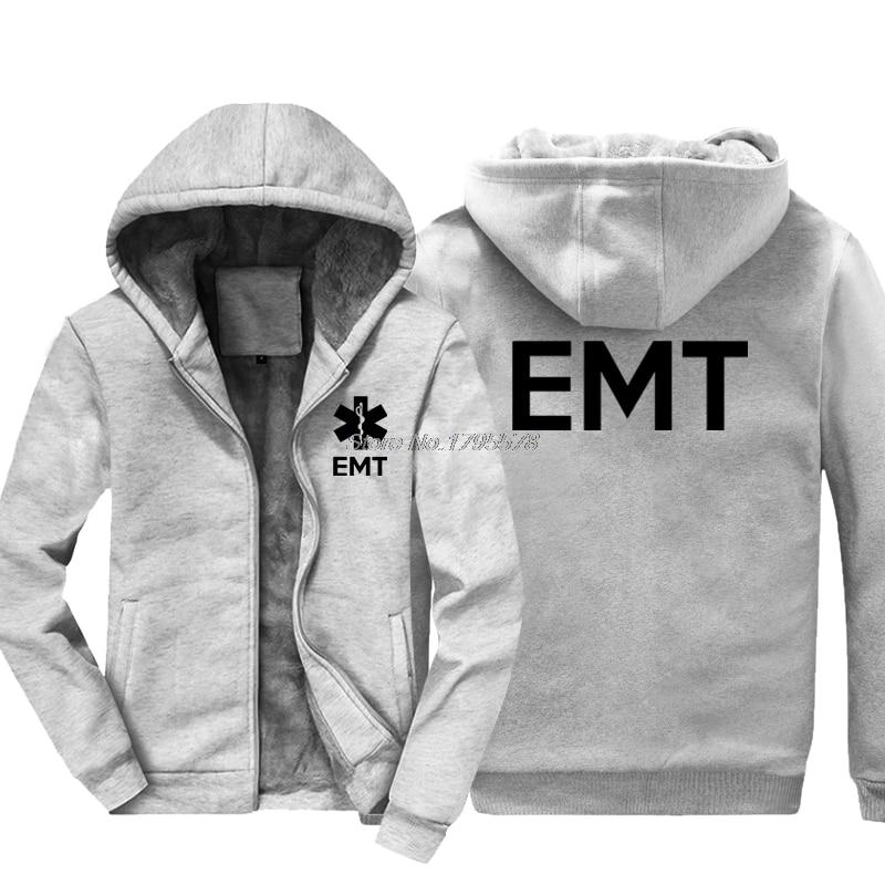 Fashion Thicken Hoodie EMT EMS Paramedic Emergency Medical Services Front & Back Men's Sweatshirt Hip Hop Jacket Tops Streetwear