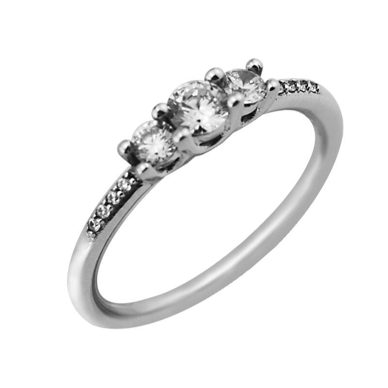 Anillo de plata esterlina 925 CKK, anillos de boda de tres piedras transparentes para mujer, plata 925, anillos de joyería, envío gratis