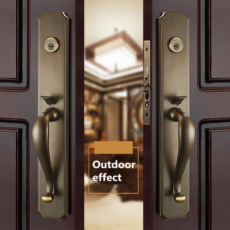 قفل مدخل نحاسي رقم 59, لون نحاسي عتيق للباب ذو الفتح المزدوج للتصدير