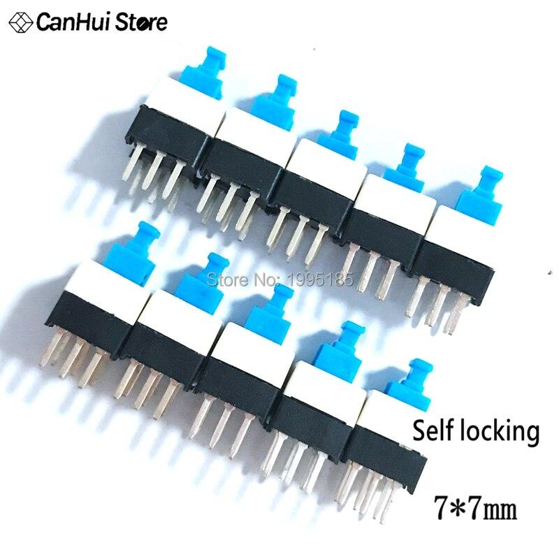 100 unids/lote 7X7mm 7*7mm 6Pin Push Tactile de Micro interruptor auto bloqueo en/botón de enclavamiento interruptor electrónico, venta mayorista