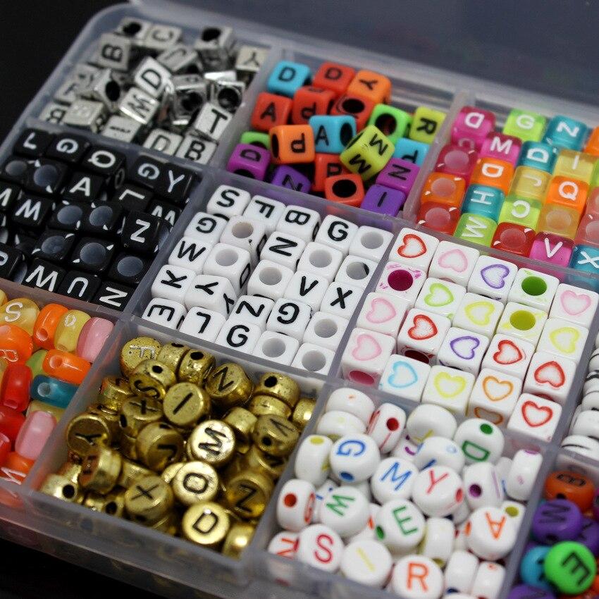1100 unids/caja de cuentas en forma de letras del alfabeto, cuentas sueltas DIY para hacer joyería, pulsera, collar, fiesta, Festival musical, adorno