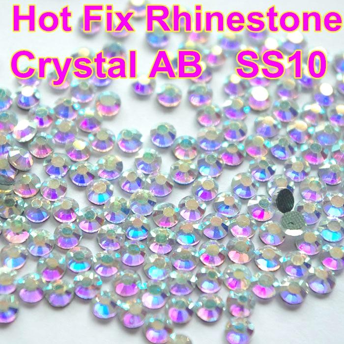 Ss10 1440 pçs clear ab cristal dmc hotfix flatback strass cristal para vestido de ferro na transferência vestuário vidro pedra