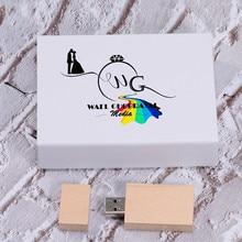 Custom Logo Usb Bedrijf Gift 2.0 Pen Drive 64Gb 32Gb 16Gb 4Gb Memory Sticks Pendrive Bruiloft fotografie (Over 1 Pcs Gratis Logo)