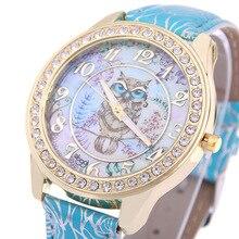 MINHIN Top marque de luxe montre-Bracelet dames Rose modèle Bracelet en cuir montres hibou conception or strass décontracté Relojes