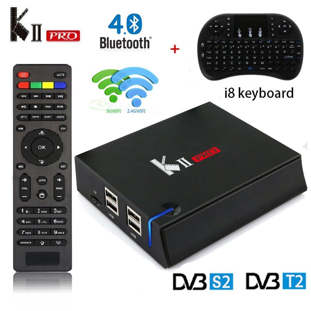 KII PRO DVB-S2 DVB-T2 Decoder Android 7.1 Smart TV Box 4K S905d Quad Core 2GB 16GB Media player 2.4G/5G Wifi MECOOL Set Top Box