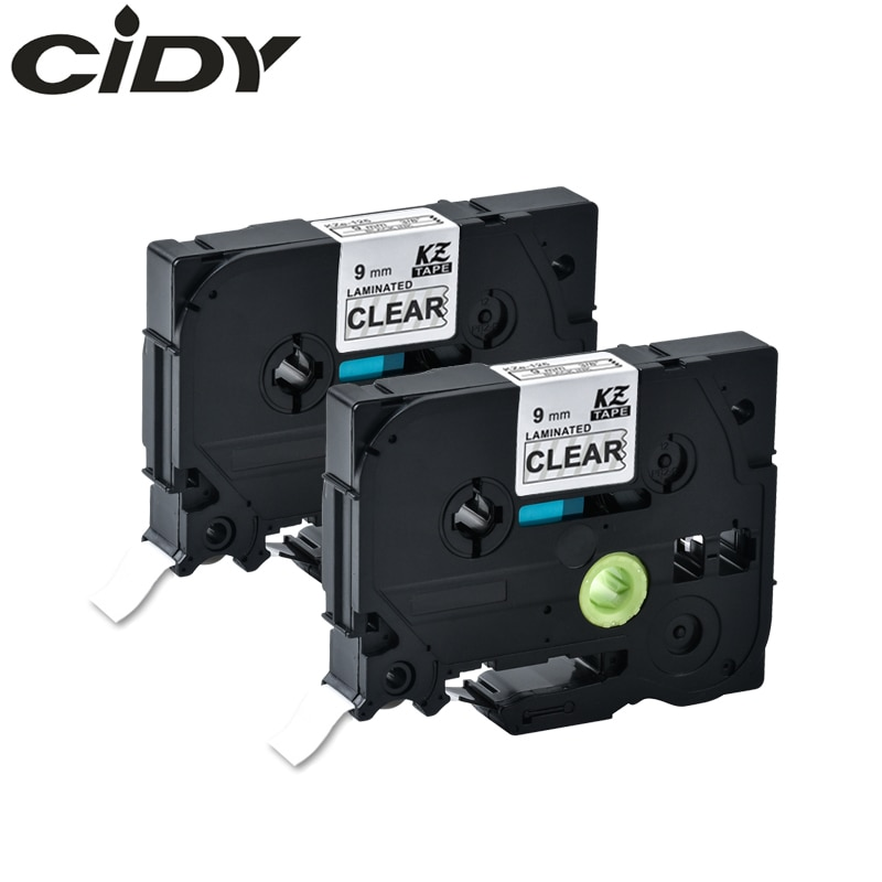 CIDY 2 uds 9mm * 8m blanco sobre claro laminado TZe 125 tze125 tz125 tz 125 cinta de etiquetado para impresora de etiquetas p-touch