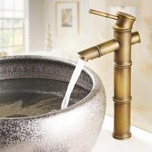 Antique Brass Bamboo Shape Single Handle Bathroom Basin Faucet Mixer Tap anf010
