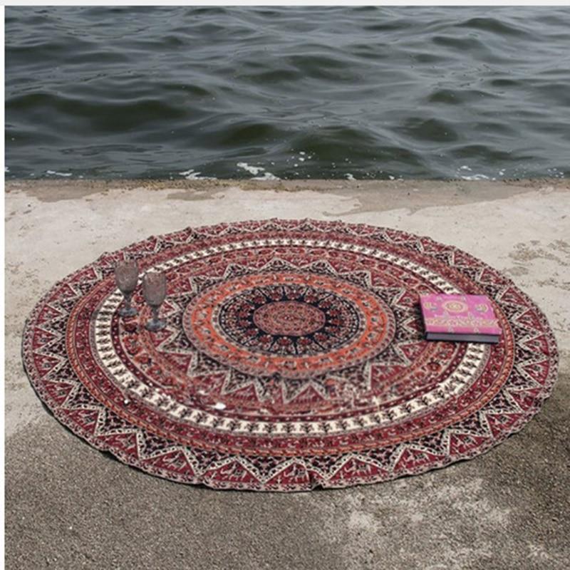 Retro okrągłe etniczny wzór ręcznik plażowy yoga mata obrus szyfonowa krem do opalania szal na świeżym powietrzu sport pływanie mata plażowa