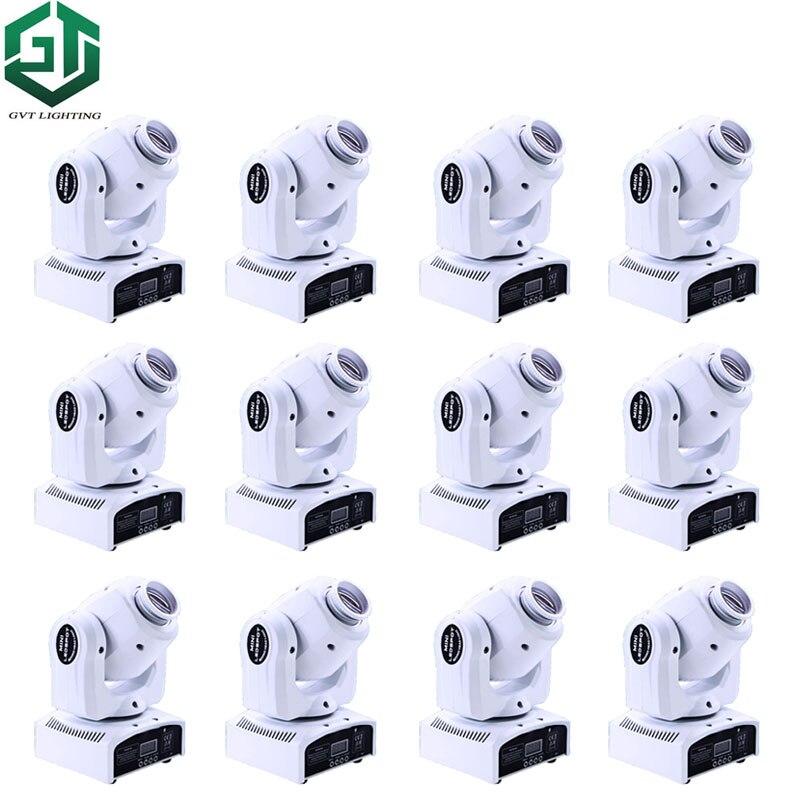 12pcs/lot White Mini Spot 30W LED Moving Head Light With Gobos Color Plate High Brightness 30W Led Moving Head Light DMX512