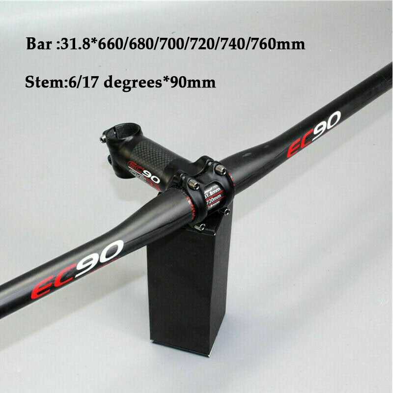 Manillar de bicicleta de carretera de carbono EC90 de 31,8mm, manillar plano de bicicleta de montaña, vástago de bicicleta mate de 660-760mm, vástago de manillar de bicicleta de 90mm