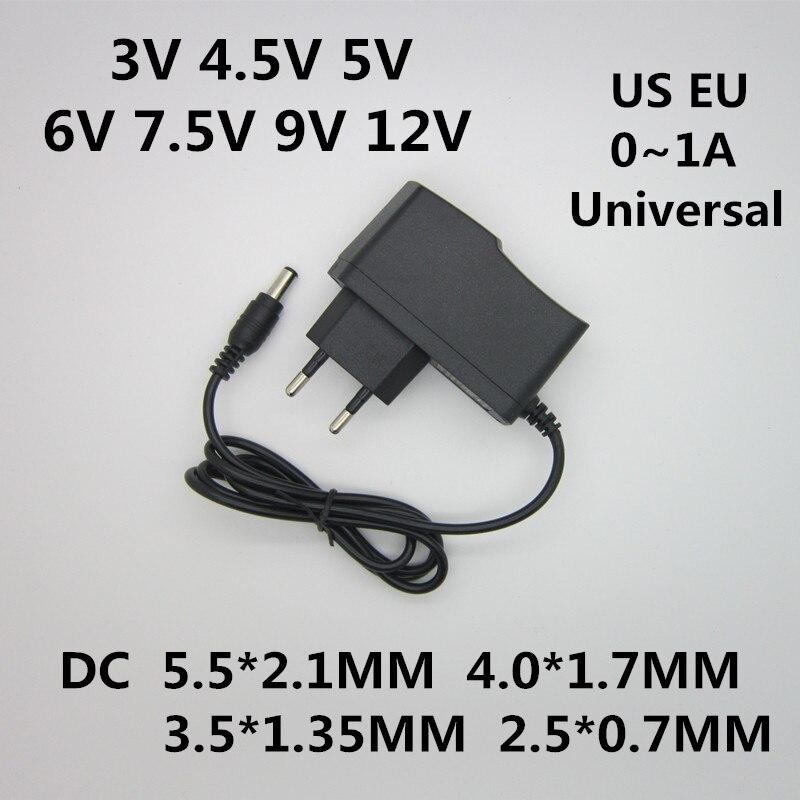 AC 110-240V DC 3V 4,5 V 5V 6V 7,5 V 9V 12V для 1A светодиодные полосы адаптер питания 12V 1A AC/DC конвертер адаптер питания
