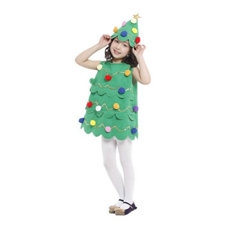 Niños Niñas Santa Claus árbol de Navidad Cosplay muestra tela fantasía niños Halloween disfraz jardín de infancia actuación vestido