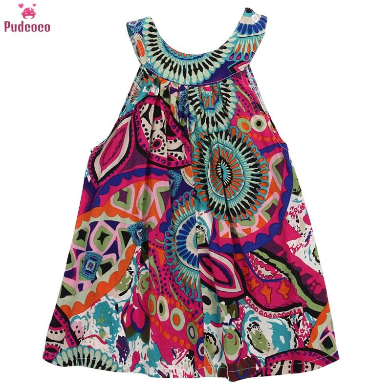 Платья для маленьких девочек Pudcoco, Летнее мини-платье-пачка без рукавов с цветочным принтом для маленьких девочек от 3 до 7 лет