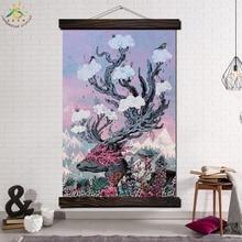 Sika cerf Art de paysage mur moderne   Image imprimée et affiche, toile suspendue, toile à rouleau, affiche toile, décoration de maison