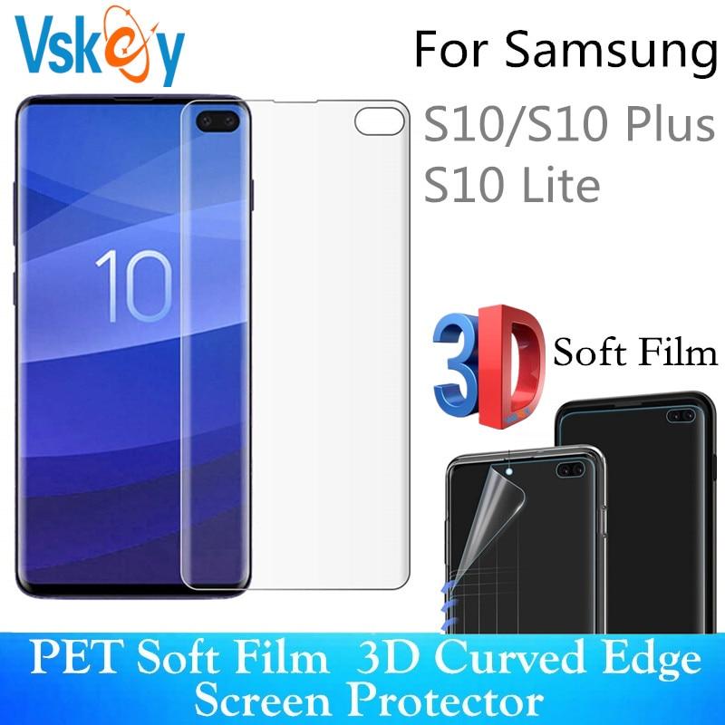 VSKEY 10 Uds 3D completa de la cubierta de Protector de pantalla para Samsung Galaxy S10 S10E S10Plus Ultra delgada suave Anti Protector de arañazos película