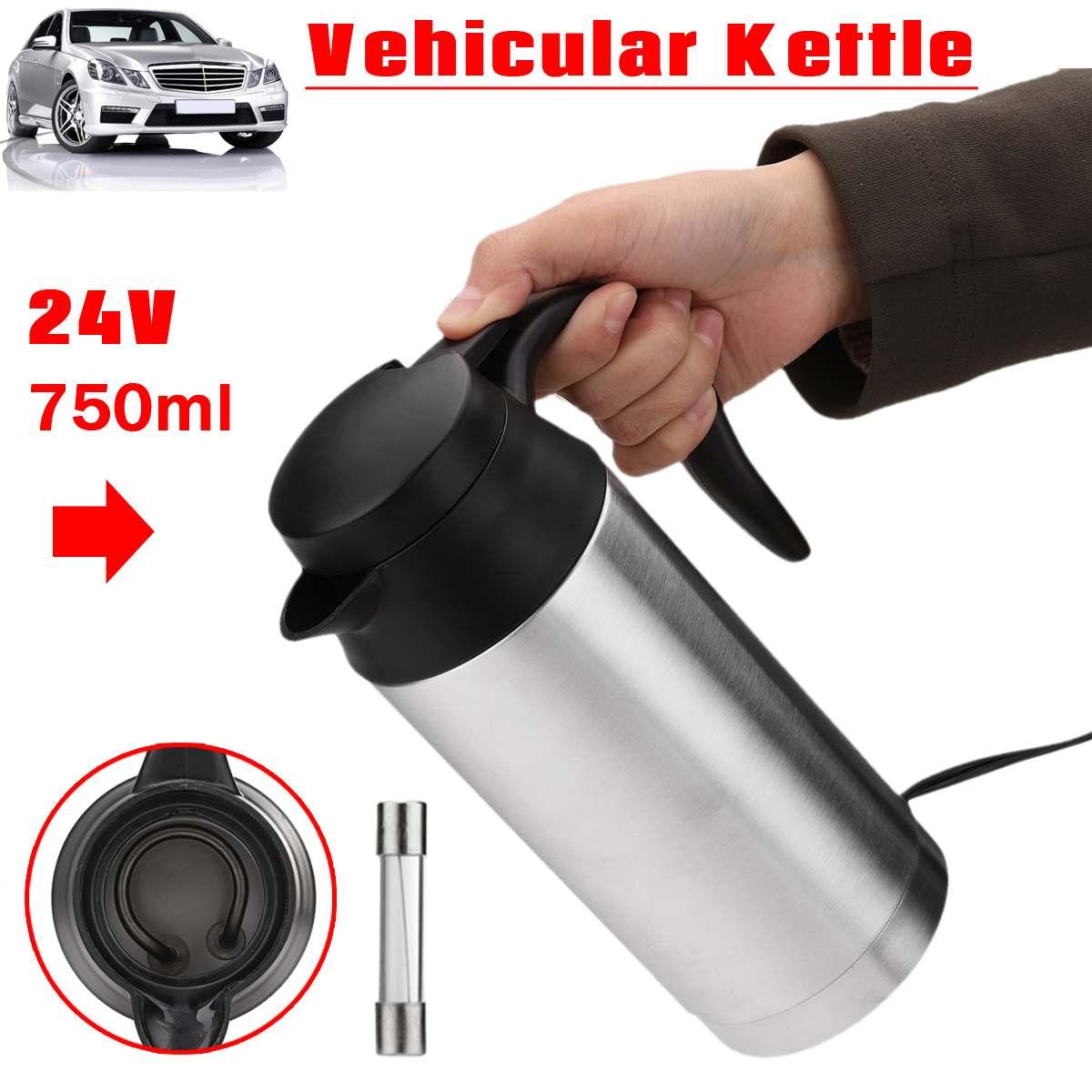Hervidor eléctrico de 750ml en el coche hervidor portátil hervidor de agua caliente de acero inoxidable Universal 24V café, Té