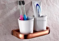 luxury bathroom rose golden polished toothbrush holder solid brass base dual ceramics cups wall mounted nba870