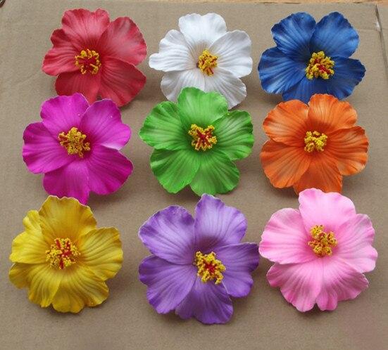 Pince à cheveux en mousse, en Hibiscus, couleur mixte, 9cm, pour mariée, bijoux en fleurs, 60 pièces, livraison gratuite