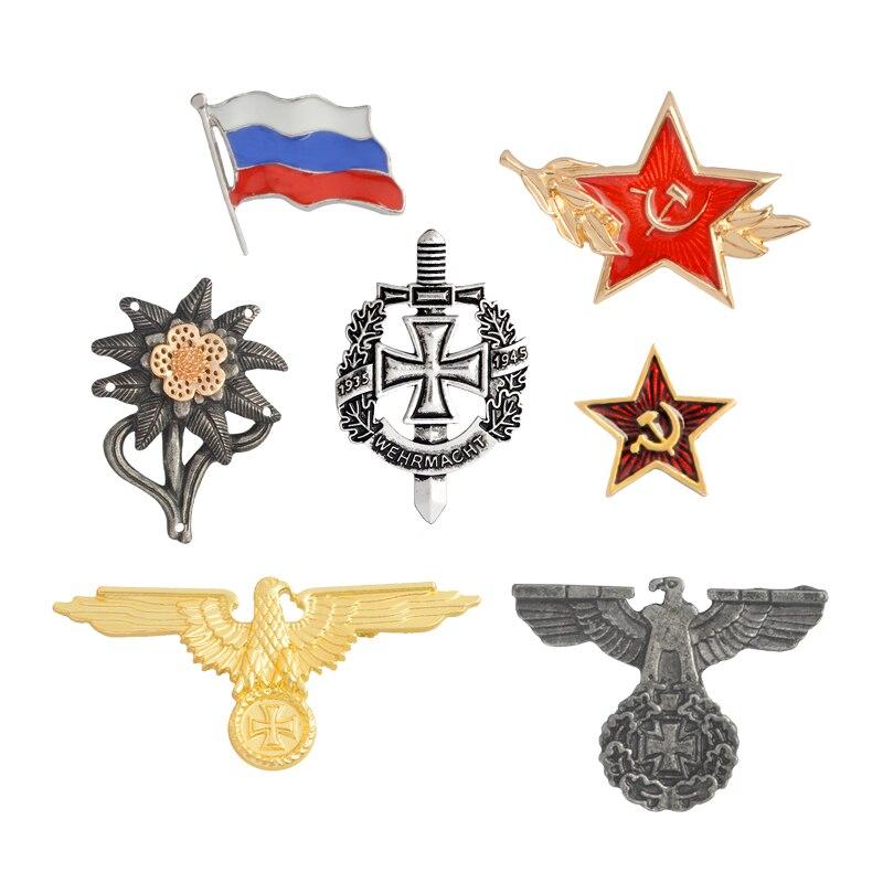 Broches de la Segunda Guerra Mundial, broche de águila militar alemana, Bandera de Rusia, USSR, Estrella Roja, Pins, insignia, broche de Metal, gorra, Cockade, joyería para hombres