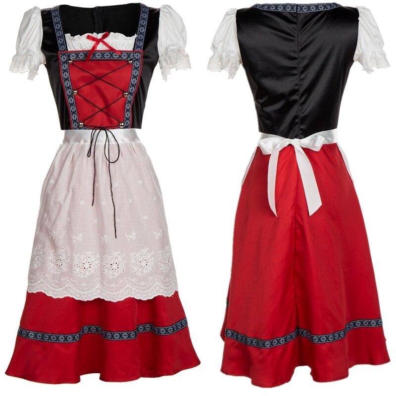 De talla grande Alemania tradición disfraz de Oktoberfest cerveza chica el dirndl bávaro vestido con delantal S-4XL dama chica carnaval vestido de las mujeres