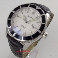 46mm bliger white dial black bezel black leather strap automatic mens watch 114C