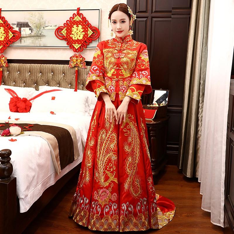 Vestido Qipao de novia Oriental elegante rojo tradicional de boda para mujeres, traje de matrimonio chino en el extranjero, Cheongsam Vintage