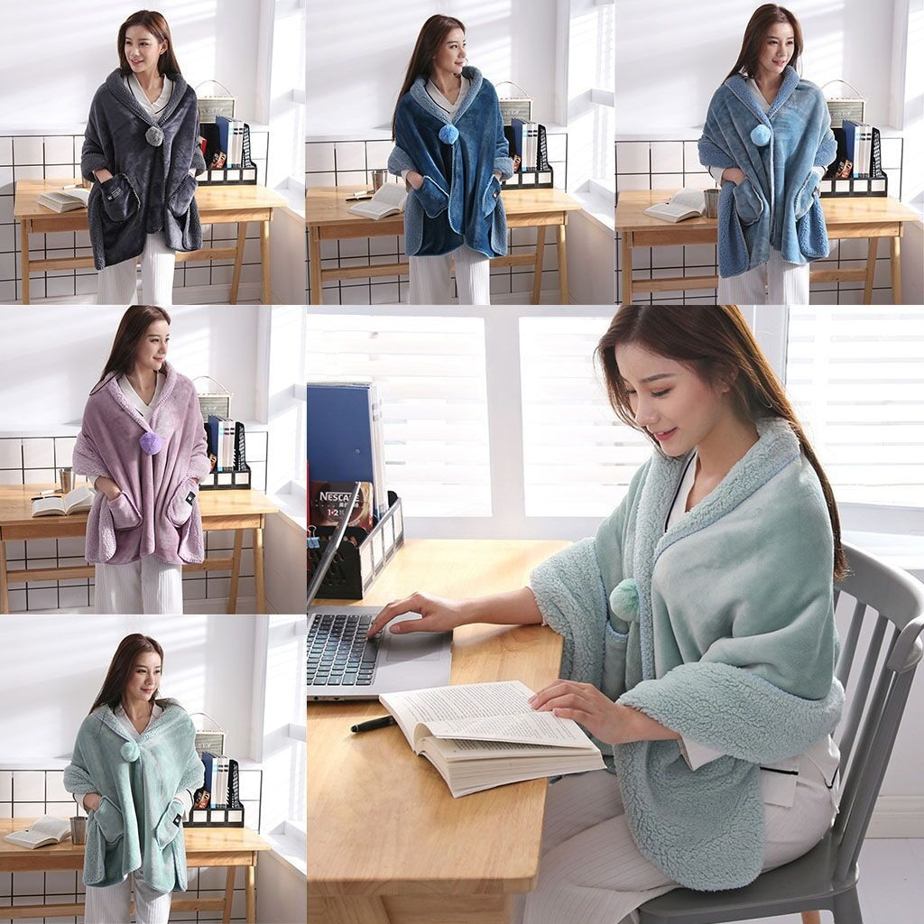 بطانية شال من الفلانيل فائقة النعومة يمكن ارتداؤها مع زر ، سميكة ، دافئة ، شتوية ، أريكة ، تكييف هواء ، مريحة ، 170x65cm