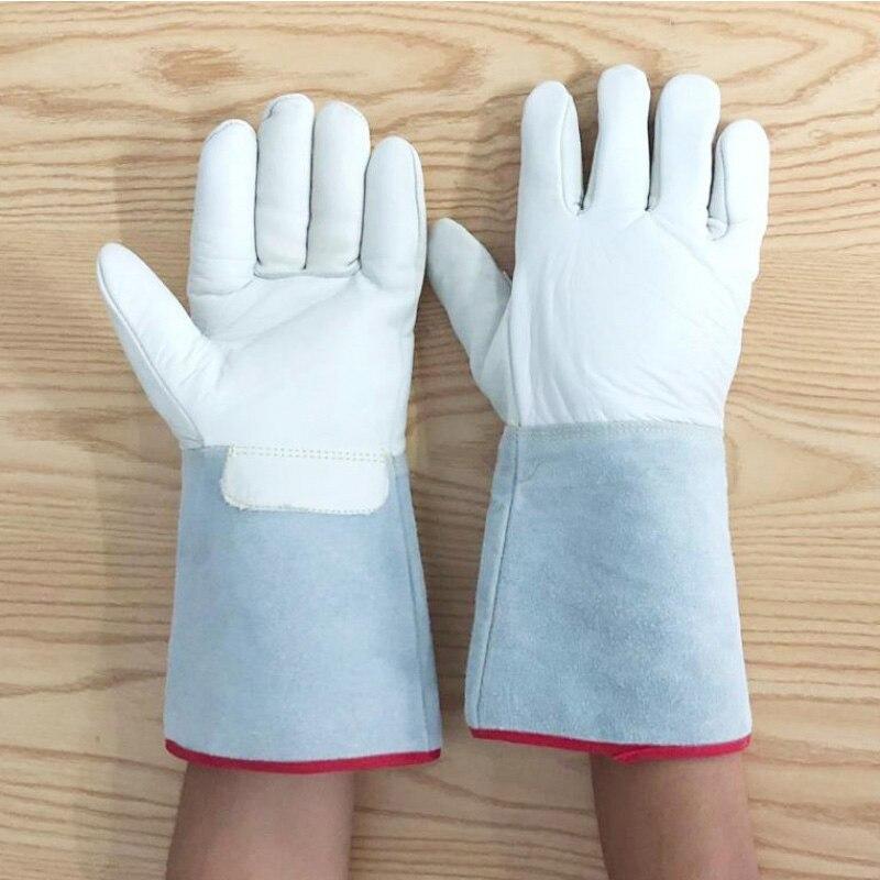 1 Pair Low Temperatur Beständig lange handschuhe für cryogenic und flüssigkeit-proof stickstoff handschuh kalten lagerung LNG luft-beweis frostschutz