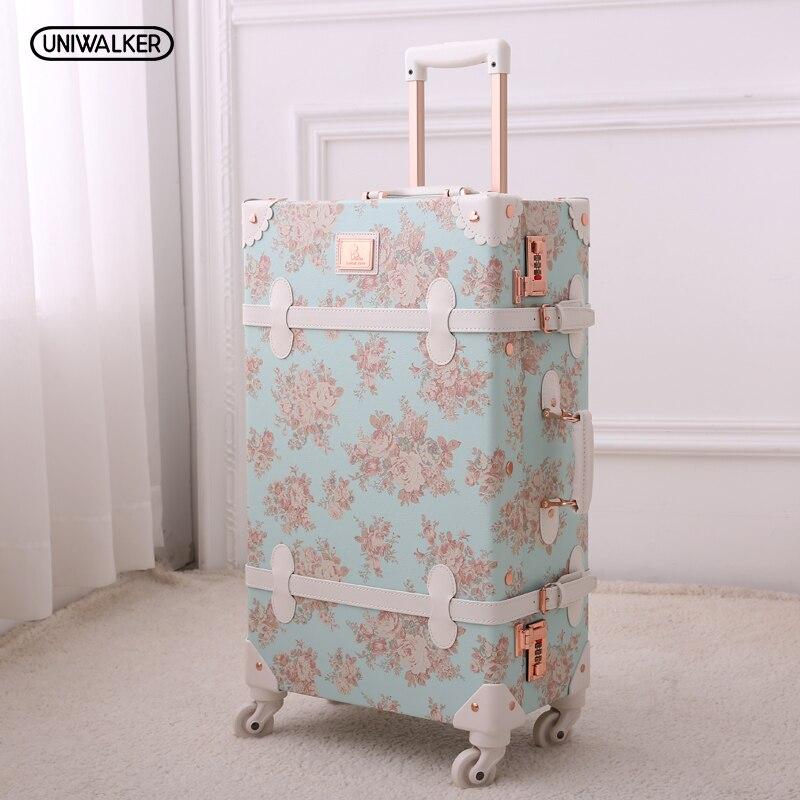 """13 """"20"""" 22 """"24"""" 26 """"menina Floral Azul Do Vintage Bagagem Do Trole bolsa de Viagem Mala, mulheres Retro bolsa de Viagem Malas de Viagem Sobre Rodas Universais"""