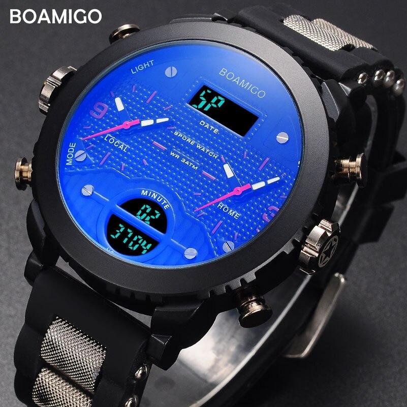 Relojes hombres Deporte Militar Reloj boamigo marca 3 zona de tiempo relojes para hombres LED Reloj de pulsera regalo de 2017 Reloj con caja de Reloj Hombre