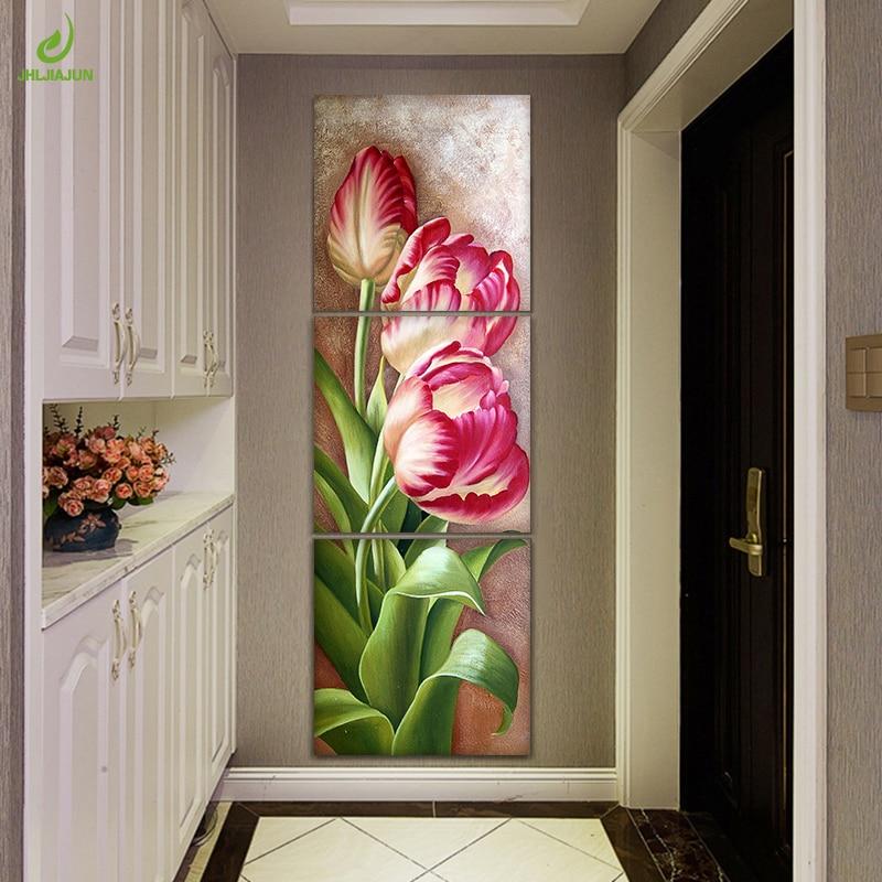 JHLJIAJUN Nordic Immagini Modulari Tela Trittico Poster Tulip Flowers Wall Picture For Living Room Wall Art Pittura A Olio Poster