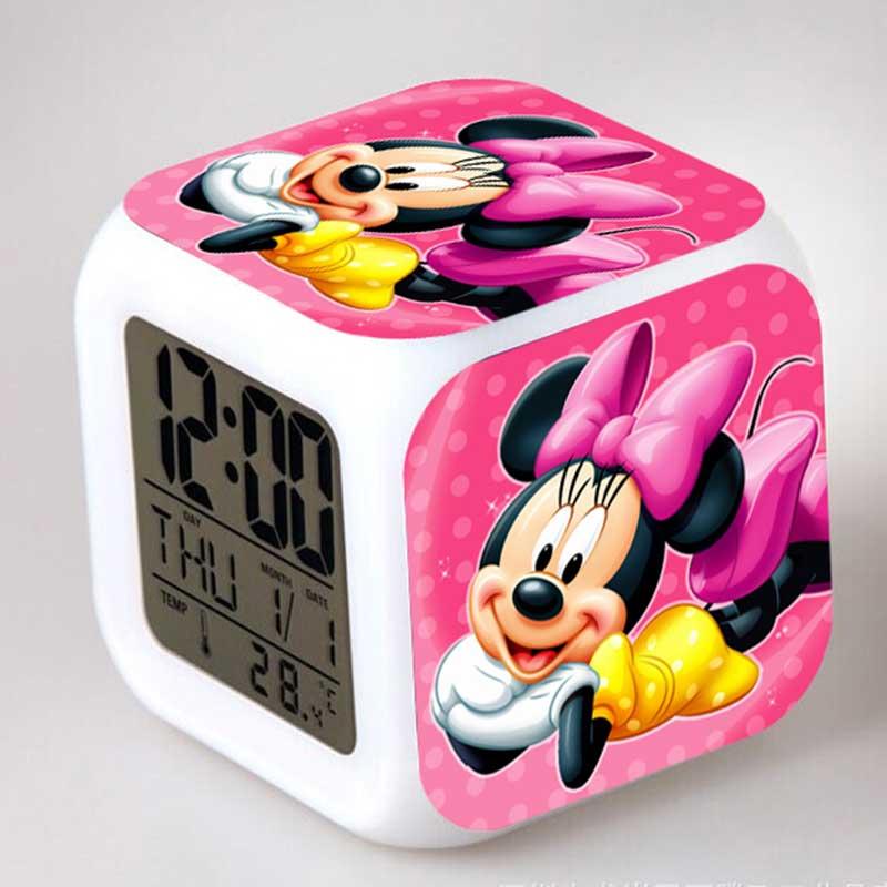 Luminosas figuras de Minnie Mickey Mouse Anime despertador LED luz táctil colorida Mekey figuritas familiares niños juguete regalo de fiesta