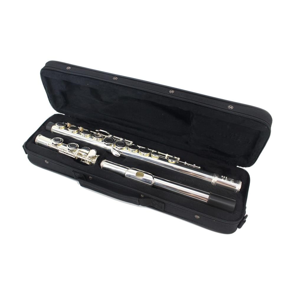 Instrumento de Sopro com Case Chave de Fenda Marca Jinyin Buracos Chave Flauta Cupronickel Sliver Chapeado Pano Limpeza Vara 16 c