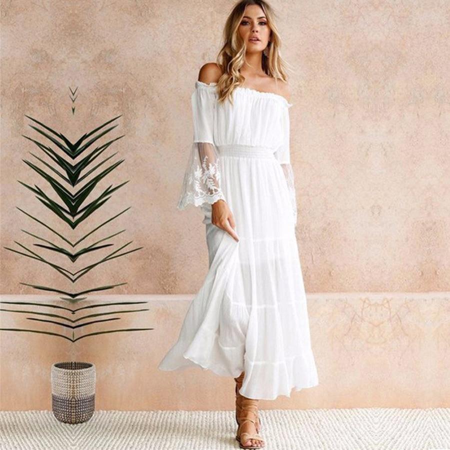 Teelynn longo boho vestido branco algodão rayon sexy fora do ombro praia vestido de manga longa emenda rendas vestidos femininos