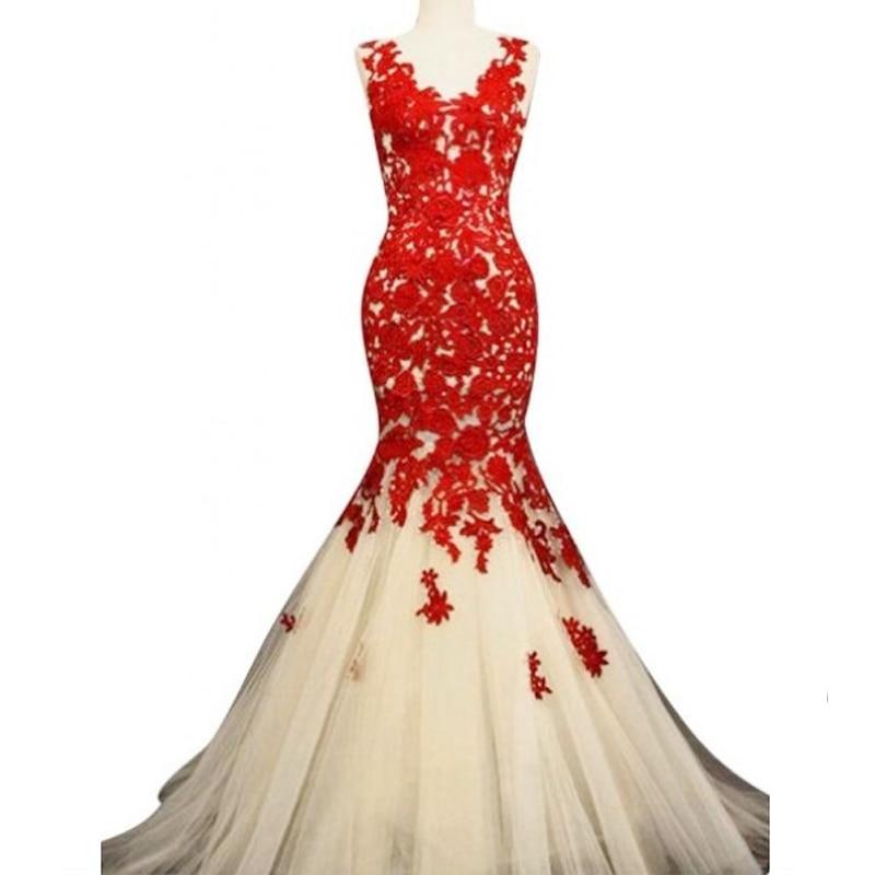 v neck red lace mermaid  prom dresses 2017 party dress robe de soiree  custom make free shipping