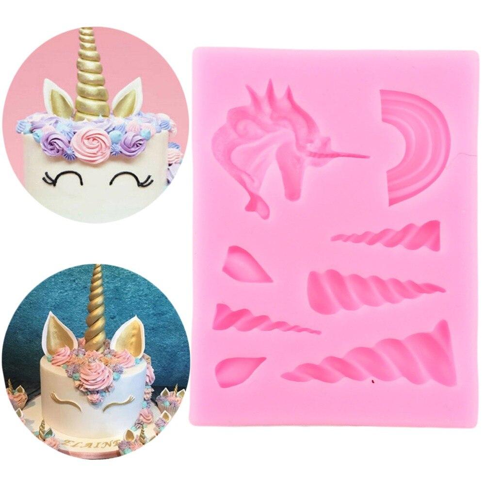 Herramientas de pastel unicornio nube cuerno oreja silicona molde Decoración Para cupcakes decoración Gumpaste Fondant herramienta molde moldes de dulces de chocolate