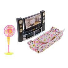 1/6 Scale Dollhouse Living Room Furniture Kit TV Theatre Set-TV Sofa Fan Kit for Living Room Bedroom Decor Model Toys
